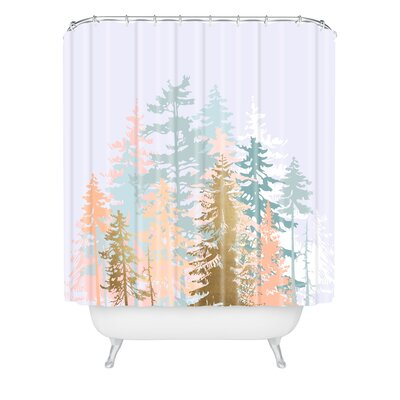 Iveta Abolina Blush Forest Shower Curtain Size: 90 H x 69 W