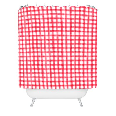 Little Arrow Design Co Watercolor Buffalo Check Shower Curtain Size: 90 H x 69 W, Color: Red