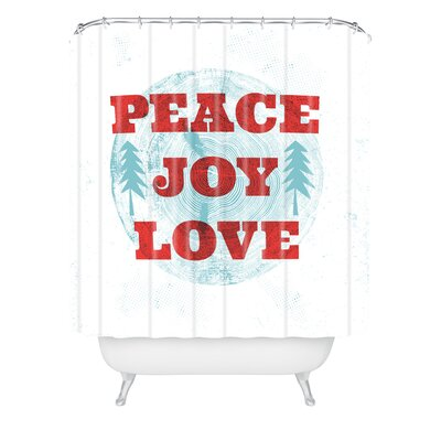 Heather Dutton Peace Joy Love Woodcut Shower Curtain Size: 90 H x 69 W