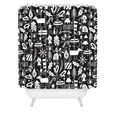 Heather Dutton Peace and Joy Shower Curtain Size: 90 H x 69 W