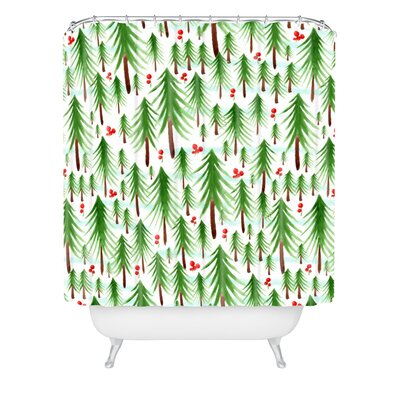 Heather Dutton Christmas Tree Farm Shower Curtain Size: 72 H x 69 W