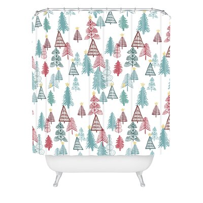 Dash And Ash Me oh My Trees Shower Curtain Size: 90 H x 69 W