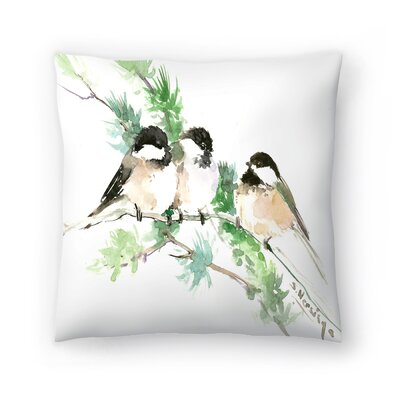 Suren Nersisyan Chickadees Throw Pillow Size: 14 x 14