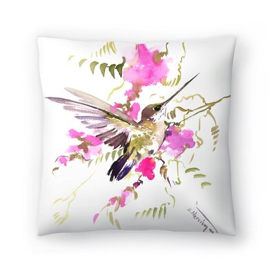Suren Nersisyan Hummingbird Flyiong Throw Pillow Size: 16 x 16