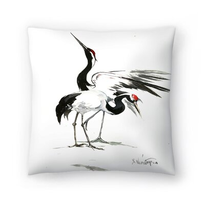 Suren Nersisyan Japanese Cranes Throw Pillow Size: 18 x 18