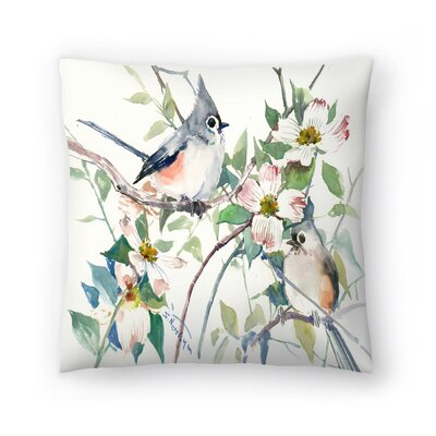 Suren Nersisyan Titmice and Dogwood Throw Pillow Size: 16 x 16