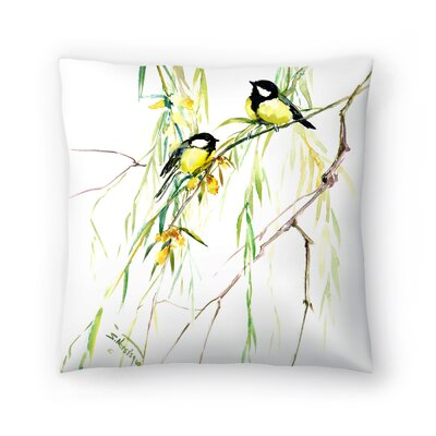 Suren Nersisyan Great Tits and Willow Throw Pillow Size: 16 x 16