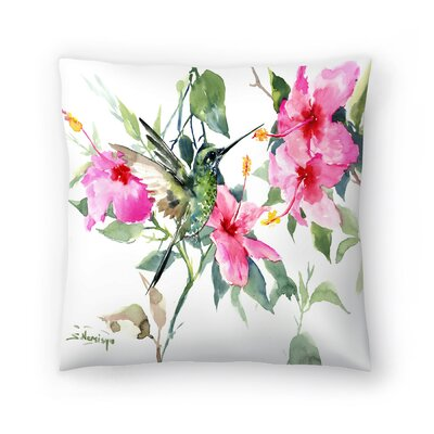 Suren Nersisyan Hibuscus and Hummingbird Throw Pillow Size: 20 x 20