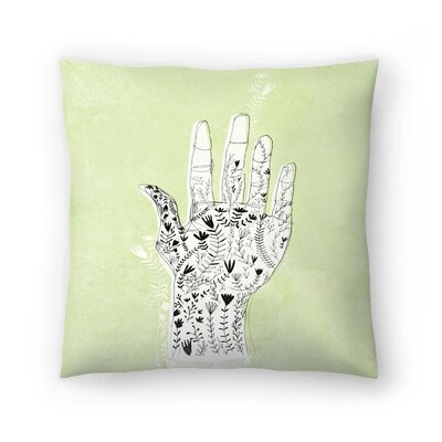 Paula Mills Floral Hand Throw Pillow Size: 18 x 18