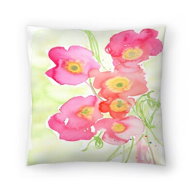 Paula Mills Poppies Throw Pillow Size: 18 x 18