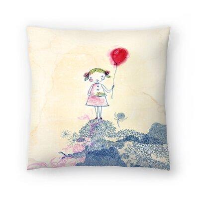 Paula Mills Baloon Girl Throw Pillow Size: 18 x 18