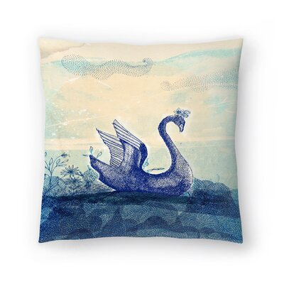 Paula Mills Sailing Swan Throw Pillow Size: 18 x 18
