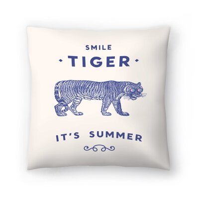 Florent Bodart Smile Tiger Throw Pillow Size: 16 x 16