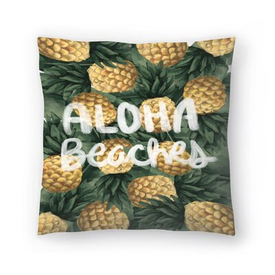 Jetty Printables Aloha Beaches Pineapple Throw Pillow Size: 14 x 14