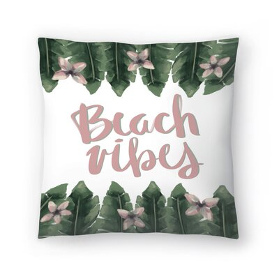 Jetty Printables Beach Vibes Typography Throw Pillow Size: 16 x 16