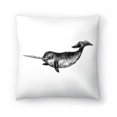 Jetty Printables Narwhal Illustration Throw Pillow Size: 18