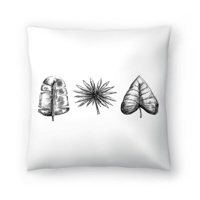 Jetty Printables Palm Leaf Trio Throw Pillow Size: 14 x 14