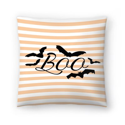 Jetty Printables Boo with Bats Throw Pillow Size: 16 x 16