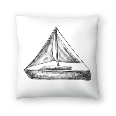 Jetty Printables Bw Sailboat 01 Throw Pillow Size: 16 x 16