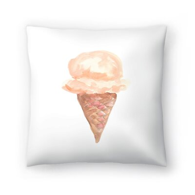Jetty Printables Coffee Watercolor Ice Cream Cone Throw Pillow Size: 14 x 14
