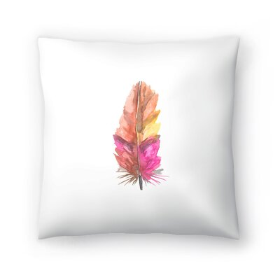 Jetty Printables Feather Watercolor Painting Throw Pillow Size: 14 x 14