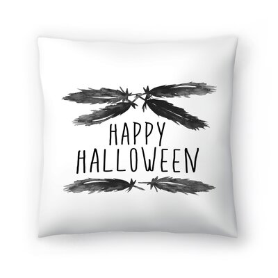 Jetty Printables Happy Halloween Feather Art Throw Pillow Size: 14 x 14