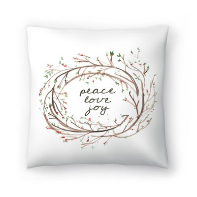 Jetty Printables Peace Love Joy Wreath Throw Pillow Size: 14 x 14