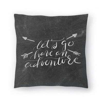 Jetty Printables Chalkboard Adventure Typography Throw Pillow Size: 18 x 18
