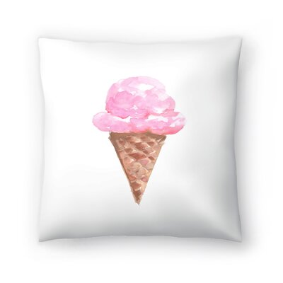 Jetty Printables Watercolor Ice Cream Cone Throw Pillow Size: 18 x 18