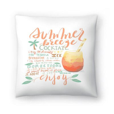 Jetty Printables Summer Breeze Cocktail Recipe Throw Pillow Size: 14 x 14