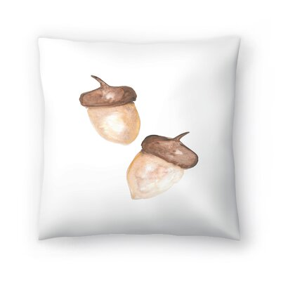 Jetty Printables Watercolor Acorns Throw Pillow Size: 16 x 16