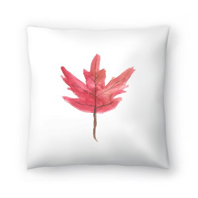 Jetty Printables Watercolor Autumn Leaf Throw Pillow Size: 14 x 14