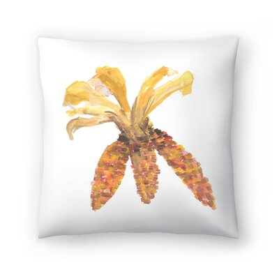 Jetty Printables Watercolor Autumnal Corn Throw Pillow Size: 18 x 18