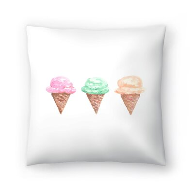 Jetty Printables Watercolor Ice Cream Cone Trio Throw Pillow Size: 14 x 14