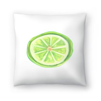 Jetty Printables Watercolor Lime Slice Throw Pillow Size: 18 x 18