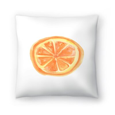 Jetty Printables Watercolor Orange Slice Throw Pillow Size: 16 x 16