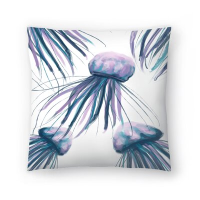 Jetty Printables Watercolor Jellyfish Throw Pillow Size: 16 x 16