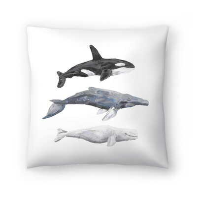 Jetty Printables Whale Painting Trio 1 Throw Pillow Size: 14 x 14