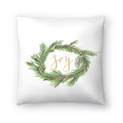 Jetty Printables Wreath Joy Throw Pillow Size: 14 x 14