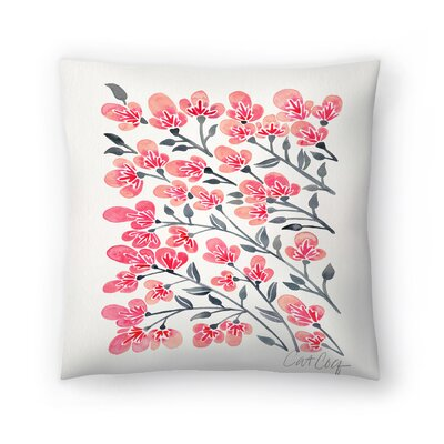 Cat Coquillette Cherry Blossoms Throw Pillow Size: 18 x 18