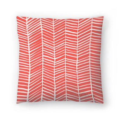 Cat Coquillette Coral Herring Bone Throw Pillow Size: 14 x 14
