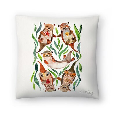 Cat Coquillette Five Otters Throw Pillow Size: 18 x 18