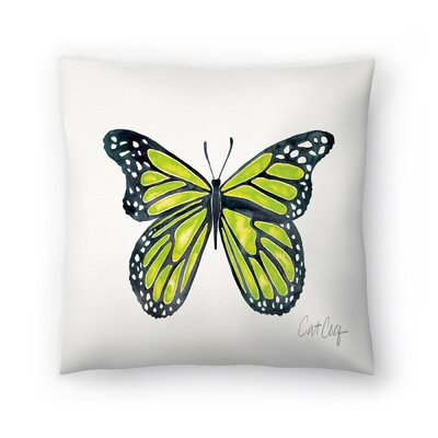 Lime Butterfly Throw Pillow Size: 18 x 18
