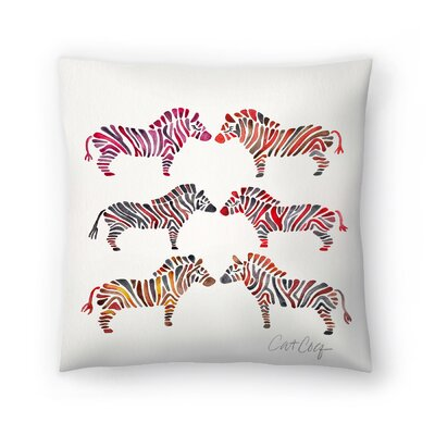 Rainbow Zebras Throw Pillow Size: 14 x 14
