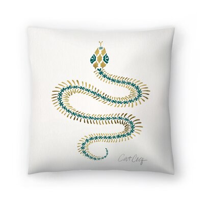Cat Coquillette Serpent Skelet on Emerald  Throw Pillow Size: 16 x 16