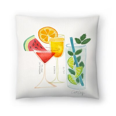 Cat Coquillette Summer Cocktails Throw Pillow Size: 18 x 18