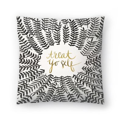 Cat Coquillette Treat Yo Self Throw Pillow Color: Black, Size: 18 x 18