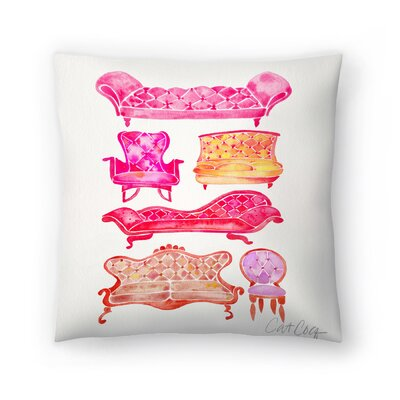 Cat Coquillette Victorian Lounge Throw Pillow Color: Pink, Size: 16 x 16