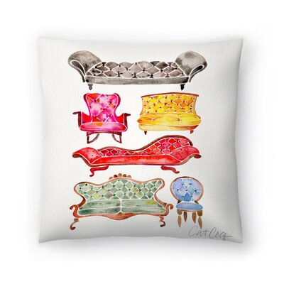 Cat Coquillette Victorian Lounge Throw Pillow Color: Red/Yellow/Blue, Size: 14 x 14
