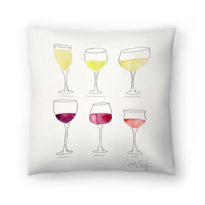 Cat Coquillette Wine Glass Collection Throw Pillow Size: 18 x 18